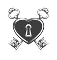 heart shaped lock with two keys tattoo vector image vector image