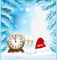 holiday christmas background with a champange and vector image vector image