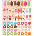 Huge collection of 28 ice creams and 32 donuts vector image vector image