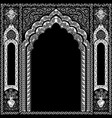 indian ornamented arch white and black vector image vector image