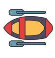 kayak flat line concept vector image vector image