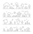 landscapes with plants mono line pictures vector image vector image