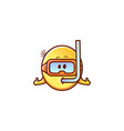 male smiley face emoticon snorkeling vector image vector image