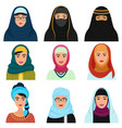 middle eastern female avatars set arabian muslim vector image vector image