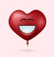 modern red heart balloon face with ribbon vector image vector image
