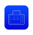 monitor with cardiogram icon blue vector image vector image