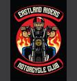 motorcycle club badge of old man ride motorcycle vector image vector image
