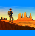 mountain and monument valley with tourist morning vector image vector image