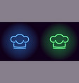 neon chef hat in blue and green color vector image vector image