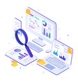 online financial audit isometric website metrics vector image
