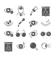 optometry icons eye and glasses vision and lens vector image