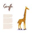 paper origami giraffe poster vector image