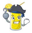 pirate lemon juice glass on cartoon shape vector image vector image