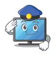 police lcd tv cartoon in living room vector image vector image