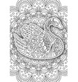 printable coloring book page for adults - swan vector image