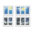 realistic white plastic window icon set vector image vector image
