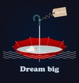 Red umbrella little paper ship and inspiring vector image