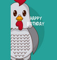 rooster cute birthday card vector image vector image