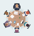 round table top view business people sitting vector image vector image