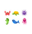 set cartoon sea creatures with funny faces vector image vector image