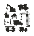 set heavy construction equipment silhouette vector image