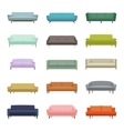 Set of fifteen sofas Elements of interior vector image vector image