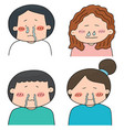 set of runny nose people vector image vector image