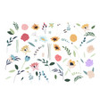 set summer flowers set flat spring flower vector image vector image