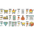 shopping line icon set vector image vector image