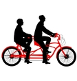 Silhouette of two athletes on tandem bicycle vector image vector image