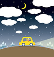 Single Woman Drive A Car In The Night vector image