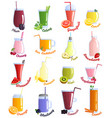 Smoothie cocktails icon set vector image