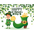 st patrick man with gold coins inside boot vector image vector image