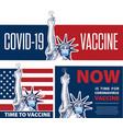 statue liberty holding vaccine for coronavirus vector image