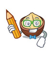student macadamia character cartoon style vector image vector image