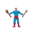 Superhero Handyman Spanner Wrench Cartoon vector image vector image