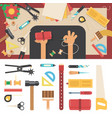 tools for handmade with leather vector image