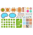 top view park items public furniture outdoor vector image