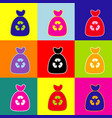 trash bag icon pop-art style colorful vector image vector image