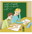 Two boys in a classroom vector image vector image