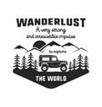 wanderlust logo emblem vintage hand drawn black vector image vector image