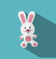 white and pink stuffed bunny with shade vector image vector image