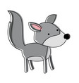 wolf cartoon in watercolor silhouette with thin vector image