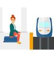 Woman sitting on railway platform vector image vector image