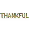 word thankful with falling leaves vector image vector image