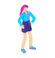 young girl icon isometric style vector image