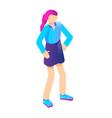 young girl icon isometric style vector image