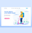 young guy courier delivery of goods vector image