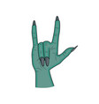 zombie hand horns satan sign finger up gesture vector image vector image