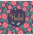 floral card with frame from flowers leaves vector image